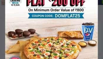 Domino's Offer : Rs. 200 off on min order Rs. 800