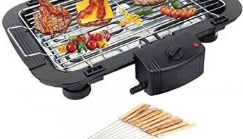 GREEVA 2000wt Portable Electric Barbecue Grill – Black Temperature Control Smokeless BBQ with 12 Sticks