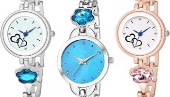 Ladies Classic Analogue Stylish Quartz Watch with Stylish Round Fancy Dial with Slim Metal Chain (Brass)