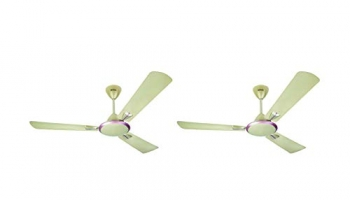 Usha Striker Galaxy 1200mm 80-watt Goodbye Dust Ceiling Fan with Anti Dust Feature (Corn Silk),pack of 2